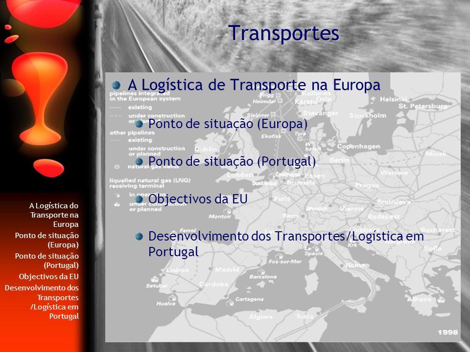 Transportes A Logística de Transporte na Europa Ponto de situação (Europa) Ponto de situação (Portugal) Objectivos da EU Desenvolvimento dos Transport