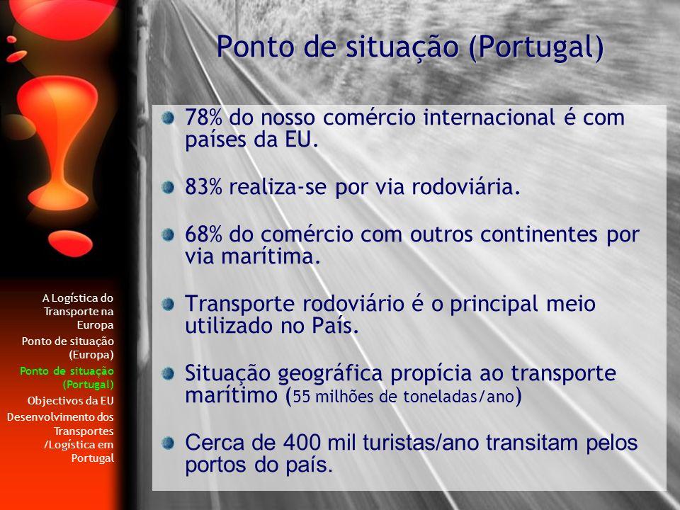 78% do nosso comércio internacional é com países da EU. 83% realiza-se por via rodoviária. 68% do comércio com outros continentes por via marítima. Tr
