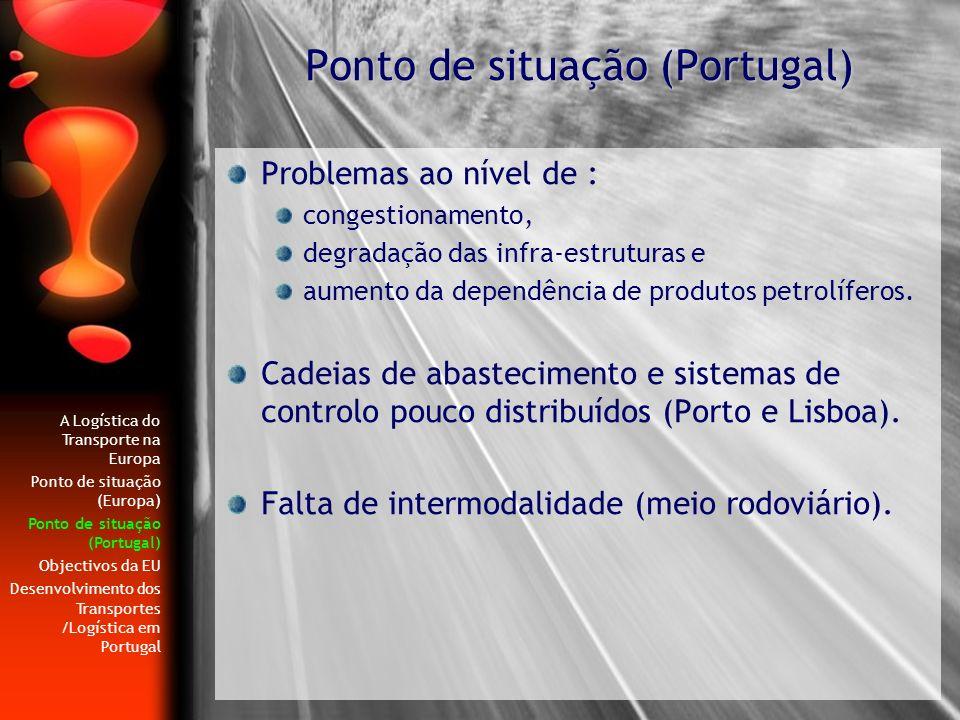 Problemas ao nível de : congestionamento, degradação das infra-estruturas e aumento da dependência de produtos petrolíferos. Cadeias de abastecimento