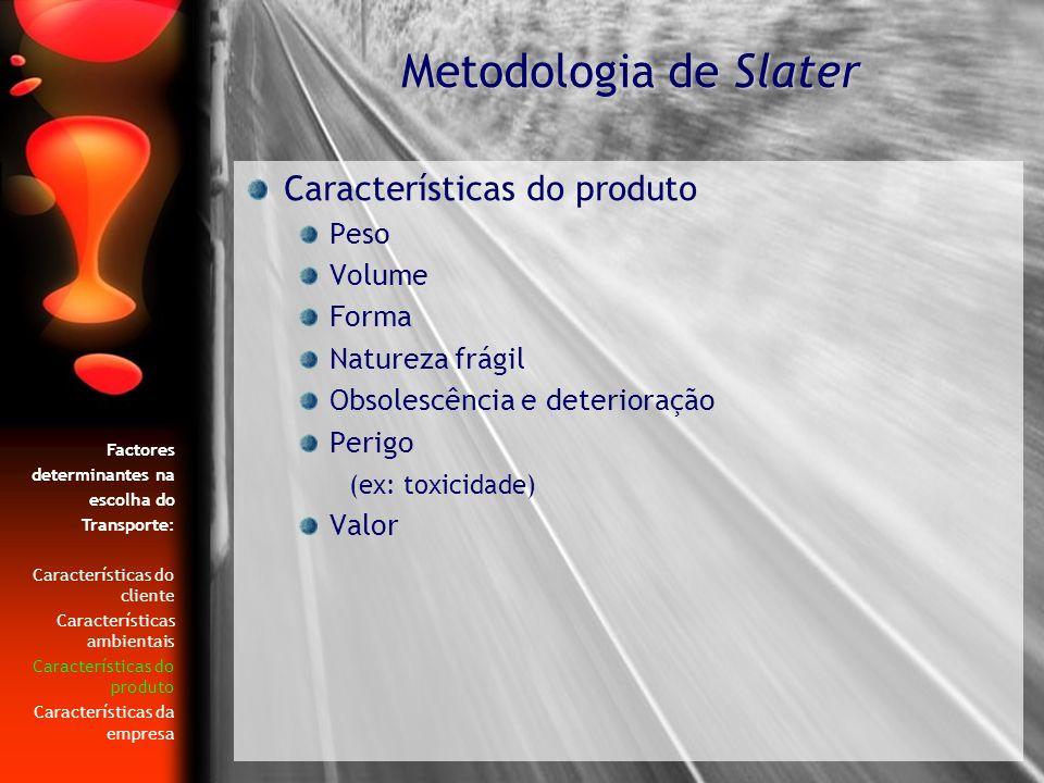 Características do produto Peso Volume Forma Natureza frágil Obsolescência e deterioração Perigo (ex: toxicidade) Valor Metodologia de Slater Factores