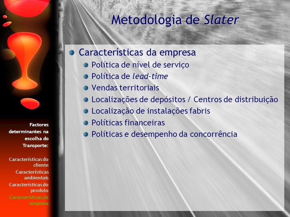 Política de nível de serviço Política de lead-time Vendas territoriais Localizações de depósitos / Centros de distribuição Localização de instalações