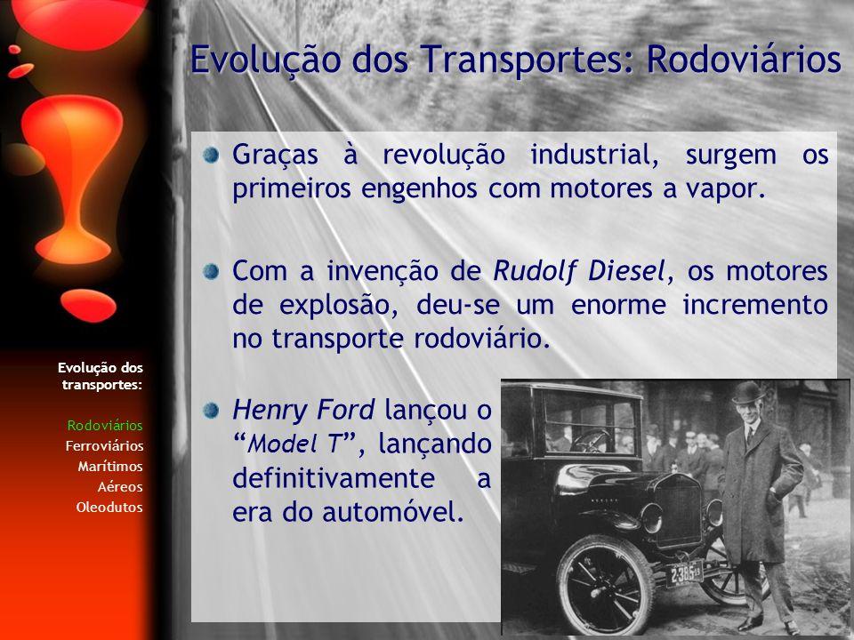 Evolução dos transportes: Rodoviários Ferroviários Marítimos Aéreos Oleodutos Com o desenvolvimento da rede de estradas, os transportes rodoviários de passageiros começaram a ganhar terreno face ao seu mais directo concorrente, o comboio.