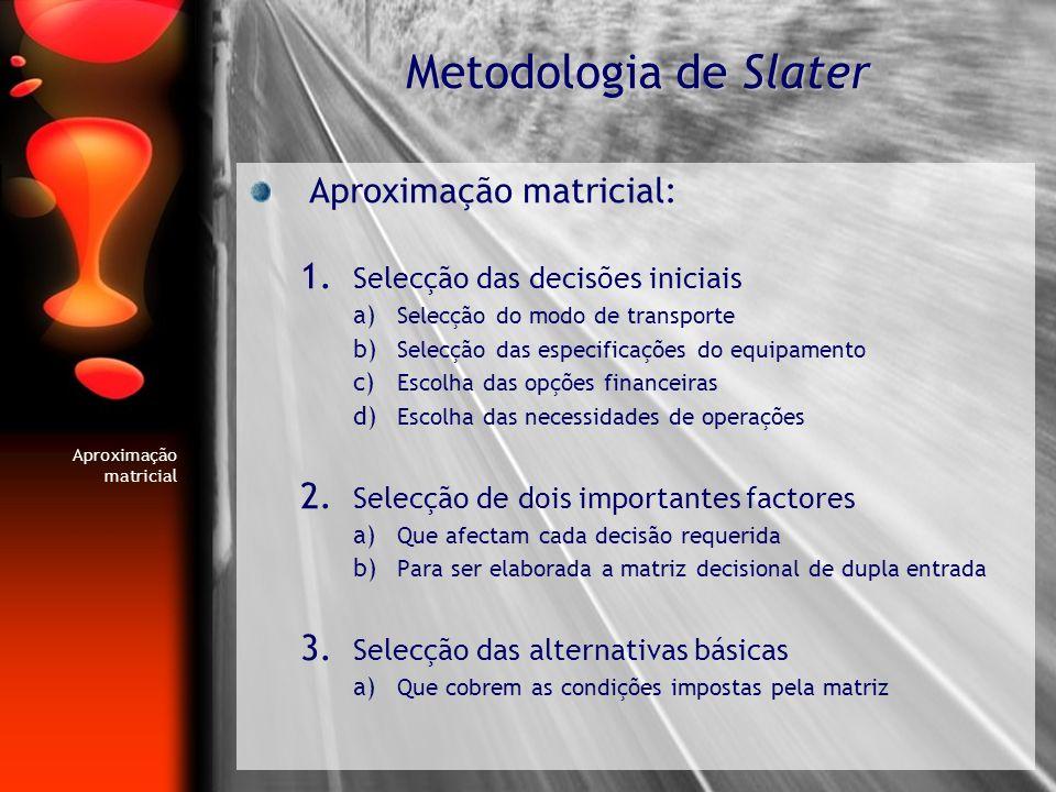 Aproximação matricial: 1. Selecção das decisões iniciais a) Selecção do modo de transporte b) Selecção das especificações do equipamento c) Escolha da