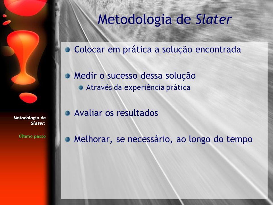 Metodologia de Slater: Último passo Colocar em prática a solução encontrada Medir o sucesso dessa solução Através da experiência prática Avaliar os re