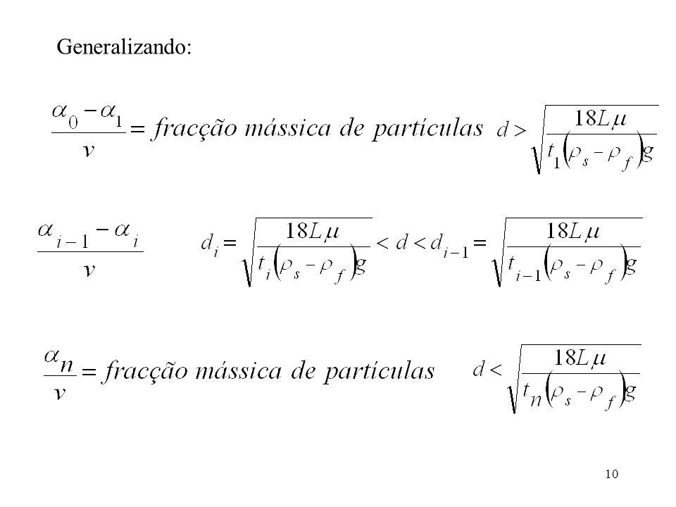 11 Exercício Numa pipeta de Andreasen é colocada uma suspensão de partículas (massa volúmica 1300 kg/m 3 ) em água com a seguinte distribuição de tamanhos % em massa das partículas 52025 1510 Diâmetro (mm) 0,005 - 0,008 0,008 - 0,010 0,010 - 0,012 0,012 - 0,014 0,014 - 0,016 0,016 - 0,020 O ponto de amostragem está a uma profundidade de 20 cm.