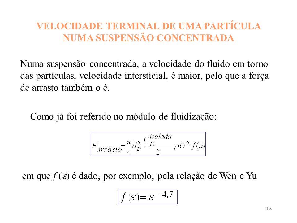 13 Mas a força de arrasto numa partícula em queda livre numa suspensão é igual ao seu peso aparente: