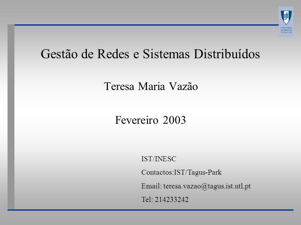 TMV - 2001 Gestão de Redes e de Sistemas Distribuídos Sistema de Gestão de Problemas-TM-Forum Modelo de objectos Nota: SGPC - Sistema de Gestão de Problemas de Cliente (Customer Trouble Ticketing) SGPC-Cliente SGPC-Fornecedor Contas Serviço Níveis de Serviço Contratados RP de Telecomunicações (RPT) RP de Fornecedor de Serviço (RTF) RP m:n 1:k 1:x 1:y 1:x Classes e RelaçõesInterfaces RPT de Cliente Invocação: SGPC-Cliente Operação: SGPC-Fornecedor Acção: Criação/acompanhamento de um RPT.