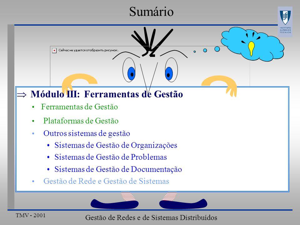 TMV - 2001 Gestão de Redes e de Sistemas Distribuídos ???? Sumário Módulo III: Ferramentas de Gestão Ferramentas de Gestão Plataformas de Gestão Outro