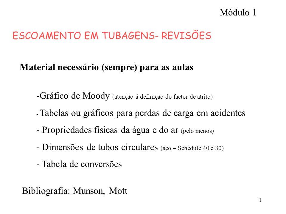 1 ESCOAMENTO EM TUBAGENS- REVISÕES Material necessário (sempre) para as aulas -Gráfico de Moody (atenção á definição do factor de atrito) - Tabelas ou