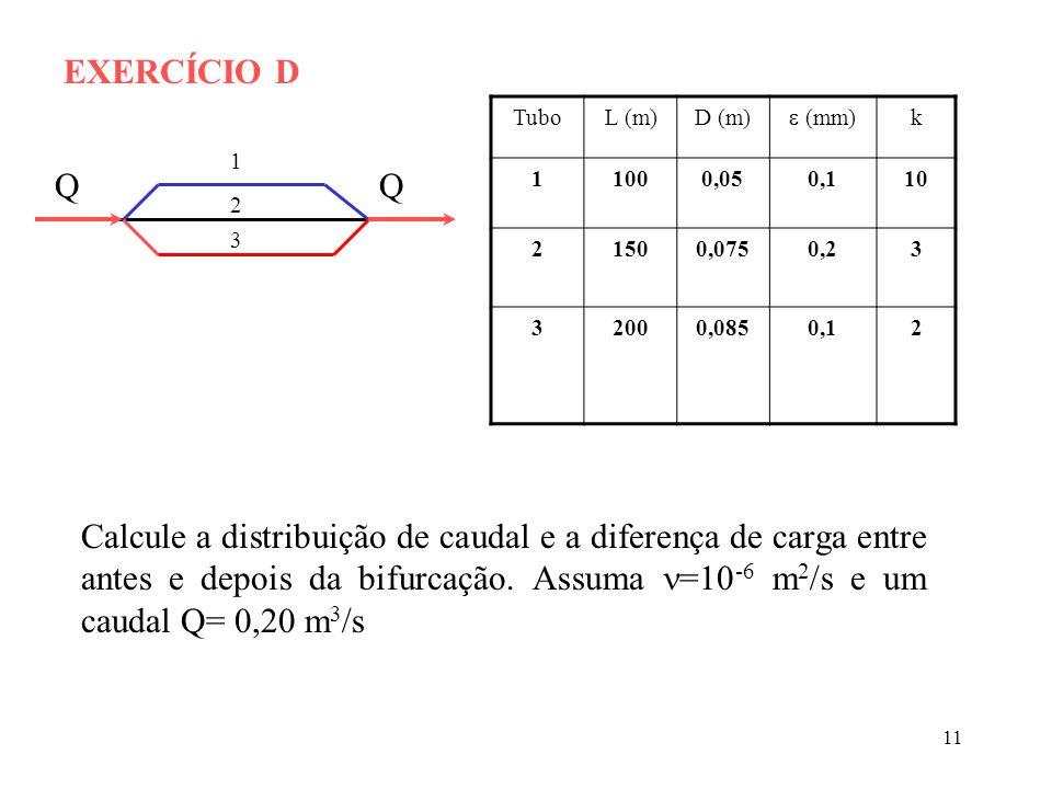 11 EXERCÍCIO D 1 2 3 QQ TuboL (m)D (m) (mm) k 11000,050,110 21500,0750,23 32000,0850,12 Calcule a distribuição de caudal e a diferença de carga entre