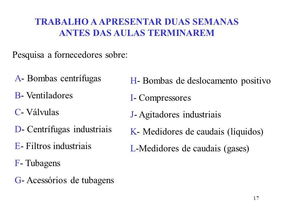 17 TRABALHO A APRESENTAR DUAS SEMANAS ANTES DAS AULAS TERMINAREM Pesquisa a fornecedores sobre: A- Bombas centrífugas B- Ventiladores C- Válvulas D- C