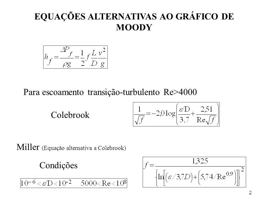 2 EQUAÇÕES ALTERNATIVAS AO GRÁFICO DE MOODY Para escoamento transição-turbulento Re>4000 Colebrook Miller (Equação alternativa a Colebrook) Condições