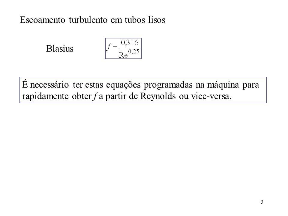 3 Escoamento turbulento em tubos lisos Blasius É necessário ter estas equações programadas na máquina para rapidamente obter f a partir de Reynolds ou