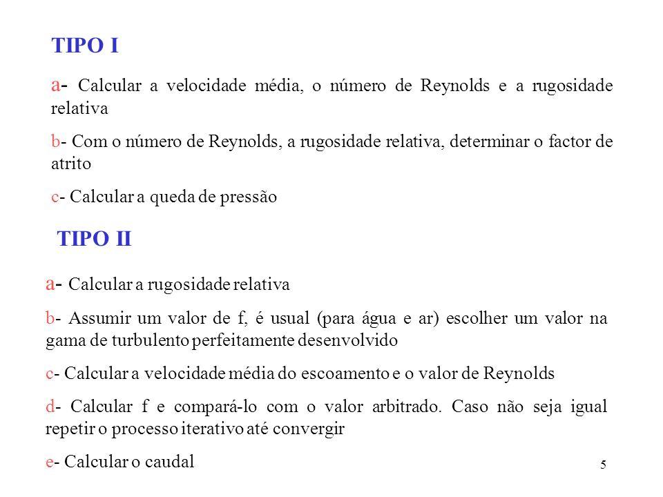 6 TIPO III a- Estimar o diâmetro do tubo (as tabelas de diâmetros nominais de tubos dão uma ajuda) b- Calcular a velocidade média, o número de Reynolds e a rugosidade relativa c- Calcular a velocidade média do escoamento e o valor de Reynolds d- Calcular o factor de atrito e- Calcular o diâmetro pela equação da energia.