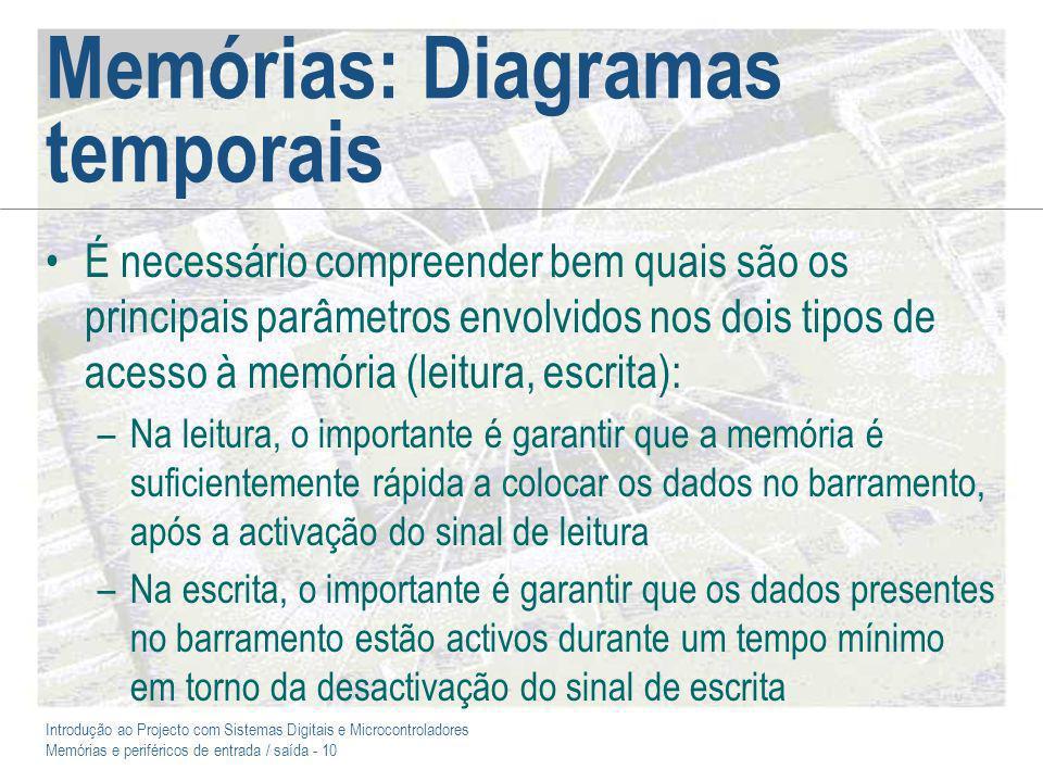 Introdução ao Projecto com Sistemas Digitais e Microcontroladores Memórias e periféricos de entrada / saída - 10 Memórias: Diagramas temporais É neces