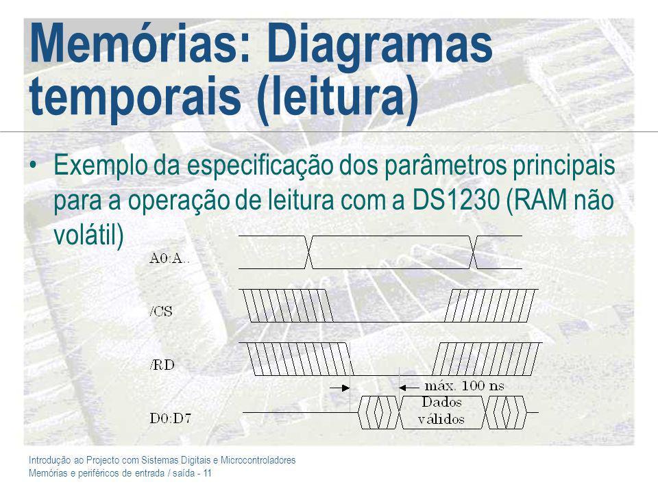 Introdução ao Projecto com Sistemas Digitais e Microcontroladores Memórias e periféricos de entrada / saída - 11 Memórias: Diagramas temporais (leitura) Exemplo da especificação dos parâmetros principais para a operação de leitura com a DS1230 (RAM não volátil)