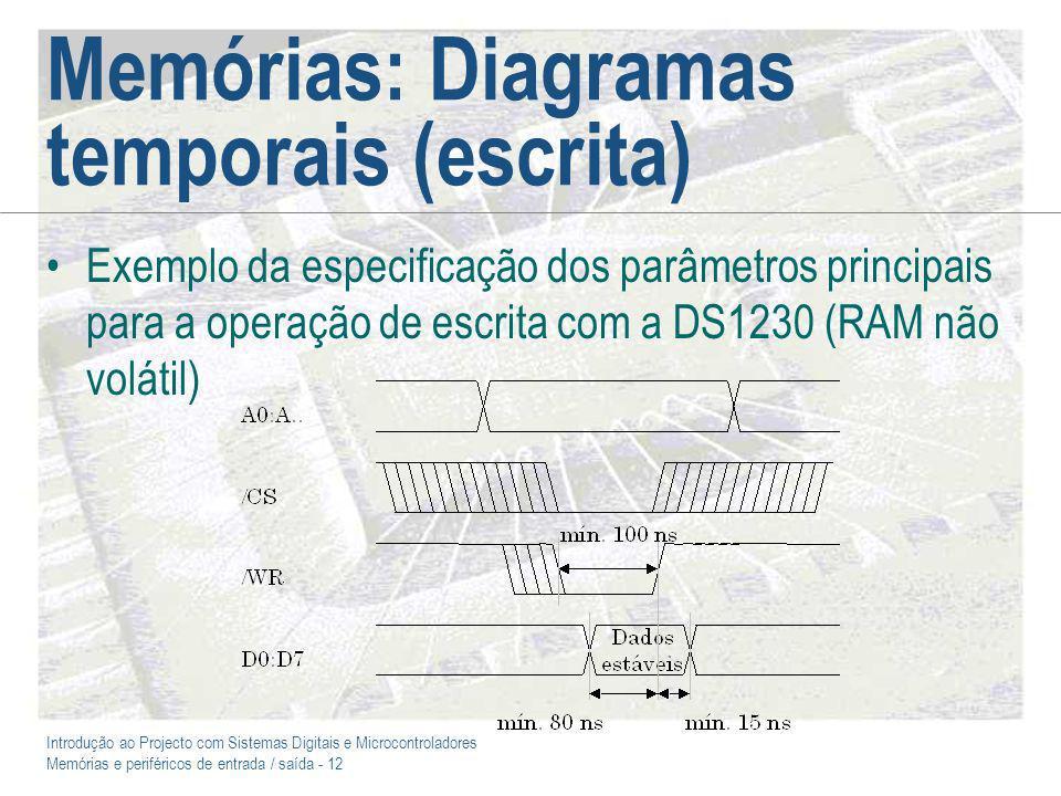 Introdução ao Projecto com Sistemas Digitais e Microcontroladores Memórias e periféricos de entrada / saída - 12 Memórias: Diagramas temporais (escrita) Exemplo da especificação dos parâmetros principais para a operação de escrita com a DS1230 (RAM não volátil)