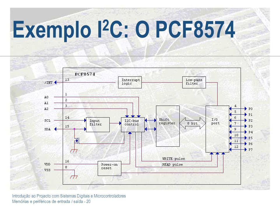Introdução ao Projecto com Sistemas Digitais e Microcontroladores Memórias e periféricos de entrada / saída - 20 Exemplo I 2 C: O PCF8574