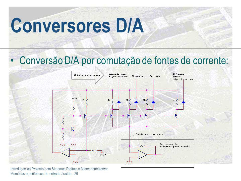 Introdução ao Projecto com Sistemas Digitais e Microcontroladores Memórias e periféricos de entrada / saída - 26 Conversores D/A Conversão D/A por com