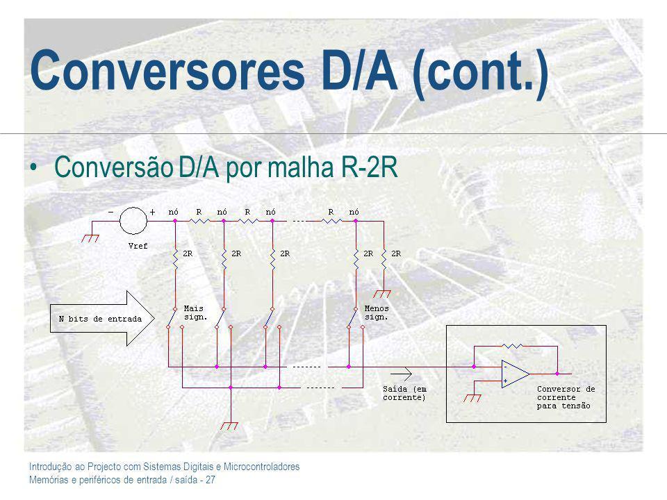 Introdução ao Projecto com Sistemas Digitais e Microcontroladores Memórias e periféricos de entrada / saída - 27 Conversores D/A (cont.) Conversão D/A por malha R-2R
