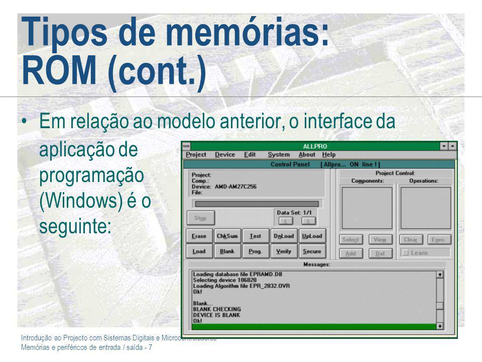 Introdução ao Projecto com Sistemas Digitais e Microcontroladores Memórias e periféricos de entrada / saída - 18 E/S digital: I 2 C Lançado pela Philips no início dos anos 80, o I 2 C atingiu uma grande popularidade em equipamentos de electrónica de consumo (HI-FI, TV, VCR, etc.) A principal vantagem do I 2 C consiste em permitir uma ligação série rápida (100 Kbps ou 400 Kbps) e fiável, com base apenas em duas ligações (dados e relógio) Cada componente tem um endereço próprio, codificado em 7 ou 10 bits