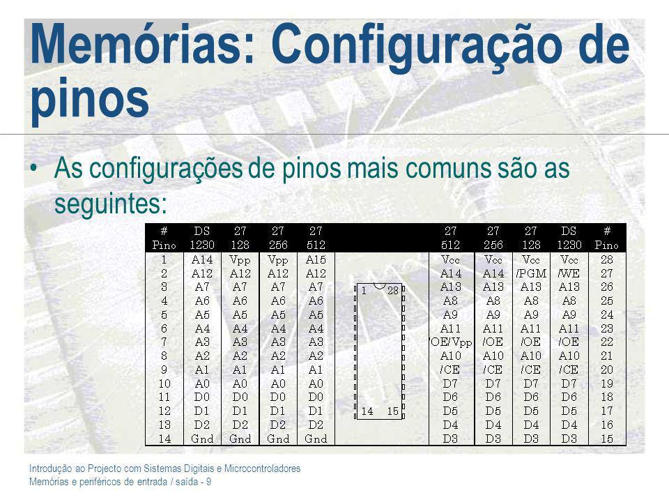 Introdução ao Projecto com Sistemas Digitais e Microcontroladores Memórias e periféricos de entrada / saída - 9 Memórias: Configuração de pinos As configurações de pinos mais comuns são as seguintes: