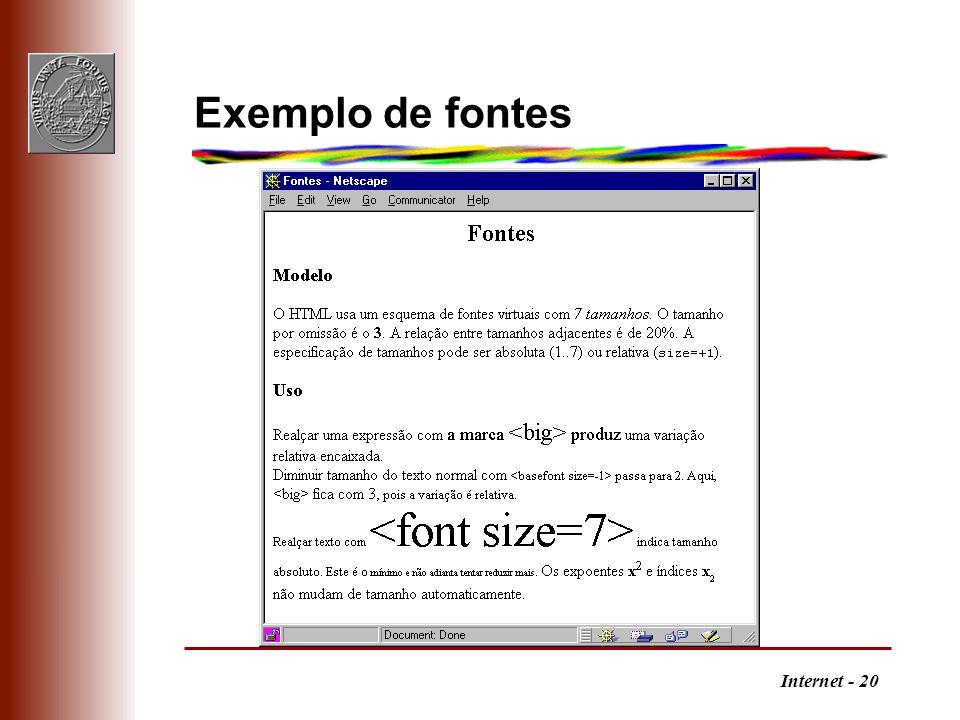 Internet - 20 Exemplo de fontes