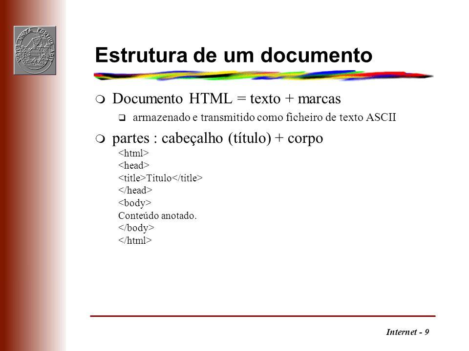 Internet - 9 Estrutura de um documento m Documento HTML = texto + marcas q armazenado e transmitido como ficheiro de texto ASCII m partes : cabeçalho