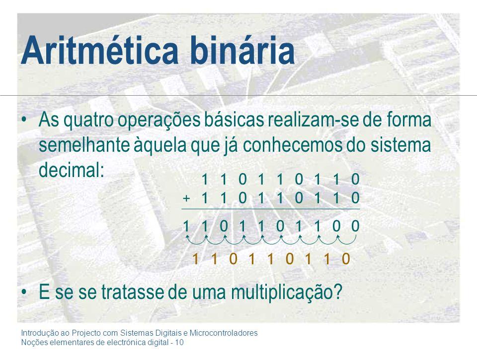 Introdução ao Projecto com Sistemas Digitais e Microcontroladores Noções elementares de electrónica digital - 10 Aritmética binária As quatro operações básicas realizam-se de forma semelhante àquela que já conhecemos do sistema decimal: E se se tratasse de uma multiplicação.