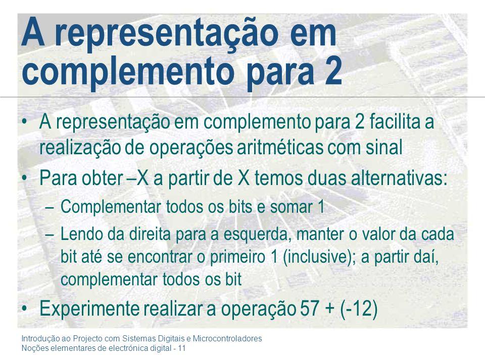 Introdução ao Projecto com Sistemas Digitais e Microcontroladores Noções elementares de electrónica digital - 11 A representação em complemento para 2 A representação em complemento para 2 facilita a realização de operações aritméticas com sinal Para obter –X a partir de X temos duas alternativas: –Complementar todos os bits e somar 1 –Lendo da direita para a esquerda, manter o valor da cada bit até se encontrar o primeiro 1 (inclusive); a partir daí, complementar todos os bit Experimente realizar a operação 57 + (-12)