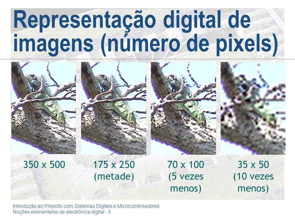Introdução ao Projecto com Sistemas Digitais e Microcontroladores Noções elementares de electrónica digital - 5 Representação digital de imagens (número de pixels) 350 x 500175 x 250 (metade) 70 x 100 (5 vezes menos) 35 x 50 (10 vezes menos)