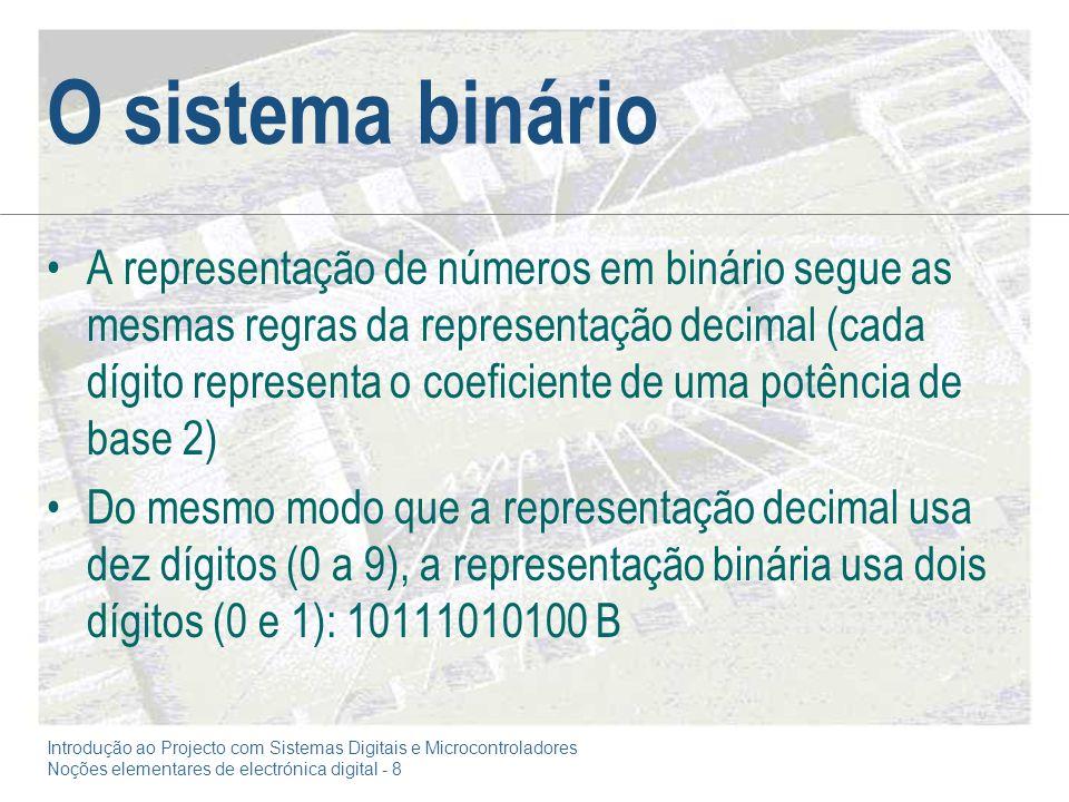 Introdução ao Projecto com Sistemas Digitais e Microcontroladores Noções elementares de electrónica digital - 8 O sistema binário A representação de números em binário segue as mesmas regras da representação decimal (cada dígito representa o coeficiente de uma potência de base 2) Do mesmo modo que a representação decimal usa dez dígitos (0 a 9), a representação binária usa dois dígitos (0 e 1): 10111010100 B