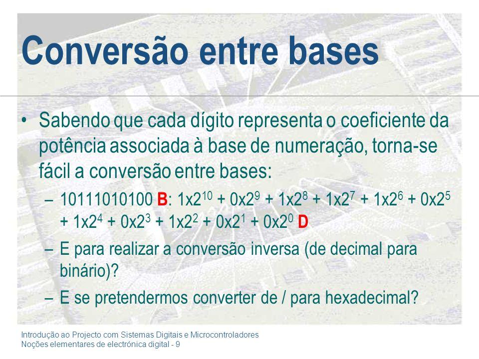 Introdução ao Projecto com Sistemas Digitais e Microcontroladores Noções elementares de electrónica digital - 9 Conversão entre bases Sabendo que cada dígito representa o coeficiente da potência associada à base de numeração, torna-se fácil a conversão entre bases: –10111010100 B : 1x2 10 + 0x2 9 + 1x2 8 + 1x2 7 + 1x2 6 + 0x2 5 + 1x2 4 + 0x2 3 + 1x2 2 + 0x2 1 + 0x2 0 D –E para realizar a conversão inversa (de decimal para binário).