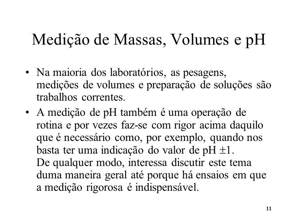 11 Medição de Massas, Volumes e pH Na maioria dos laboratórios, as pesagens, medições de volumes e preparação de soluções são trabalhos correntes. A m