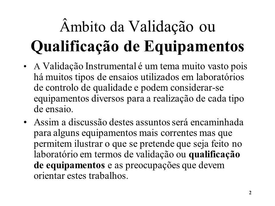 2 Âmbito da Validação ou Qualificação de Equipamentos A Validação Instrumental é um tema muito vasto pois há muitos tipos de ensaios utilizados em lab