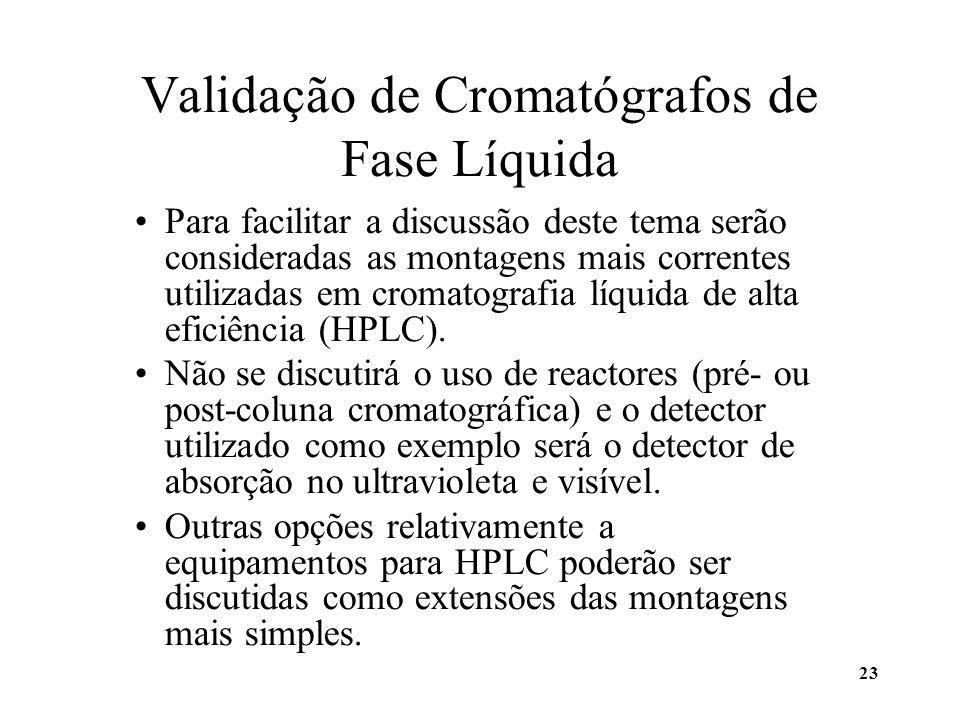 23 Validação de Cromatógrafos de Fase Líquida Para facilitar a discussão deste tema serão consideradas as montagens mais correntes utilizadas em croma