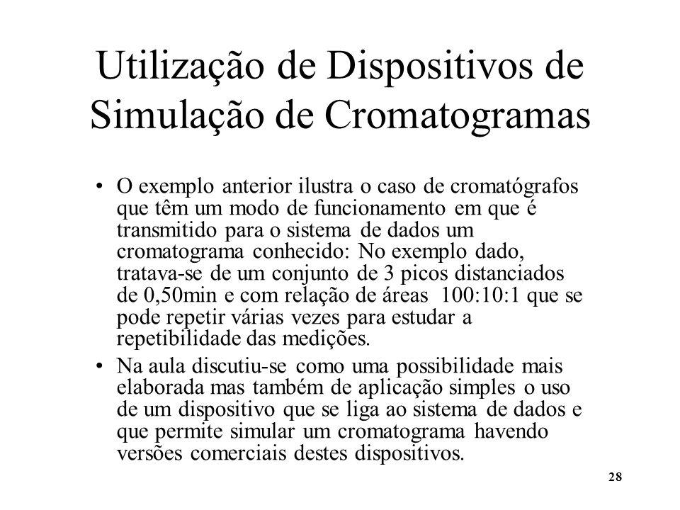 28 Utilização de Dispositivos de Simulação de Cromatogramas O exemplo anterior ilustra o caso de cromatógrafos que têm um modo de funcionamento em que