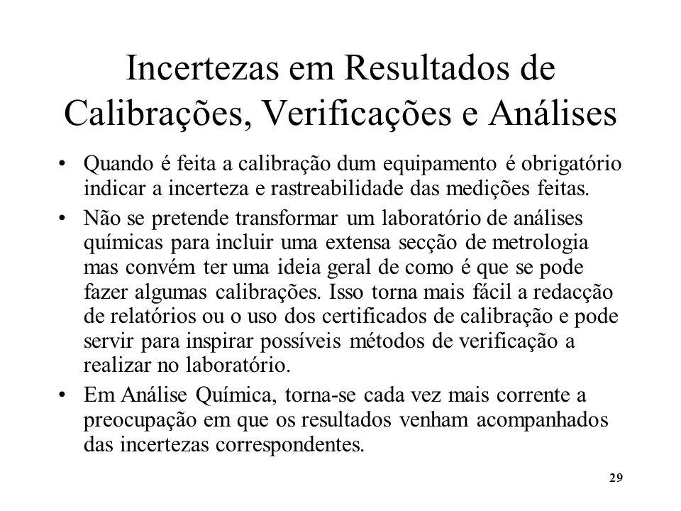 29 Incertezas em Resultados de Calibrações, Verificações e Análises Quando é feita a calibração dum equipamento é obrigatório indicar a incerteza e ra