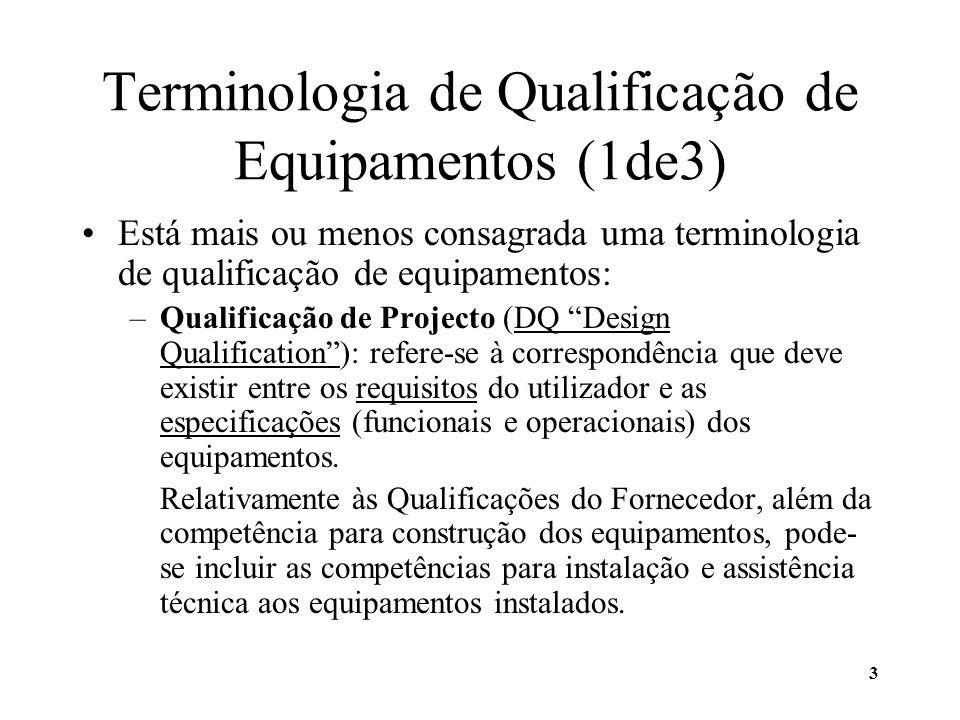 3 Terminologia de Qualificação de Equipamentos (1de3) Está mais ou menos consagrada uma terminologia de qualificação de equipamentos: –Qualificação de
