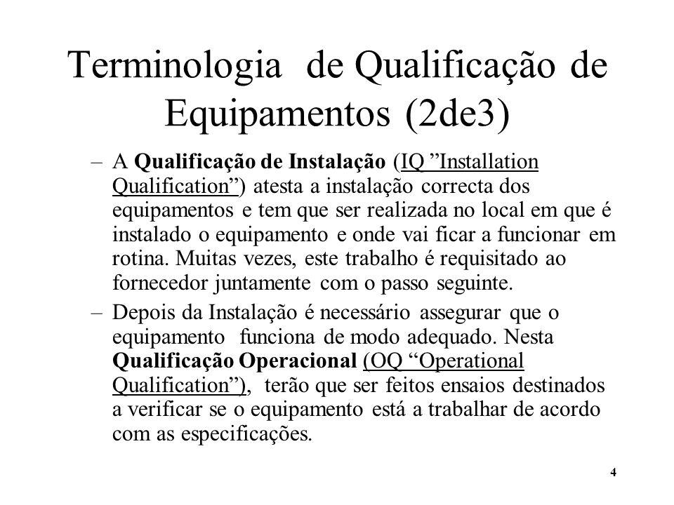 5 Terminologia de Qualificação de Equipamentos (3de3) –A sigla IQ/OQ designa Installation Qualification / Operational Qualification e, no caso de ser requisitada, tem que ser feita por técnico(s) especialmente qualificado(s) e diferente(s) daquele(s) que fez (fizeram) a instalação do equipamento.