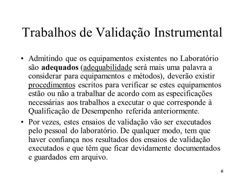 6 Trabalhos de Validação Instrumental Admitindo que os equipamentos existentes no Laboratório são adequados (adequabilidade será mais uma palavra a co