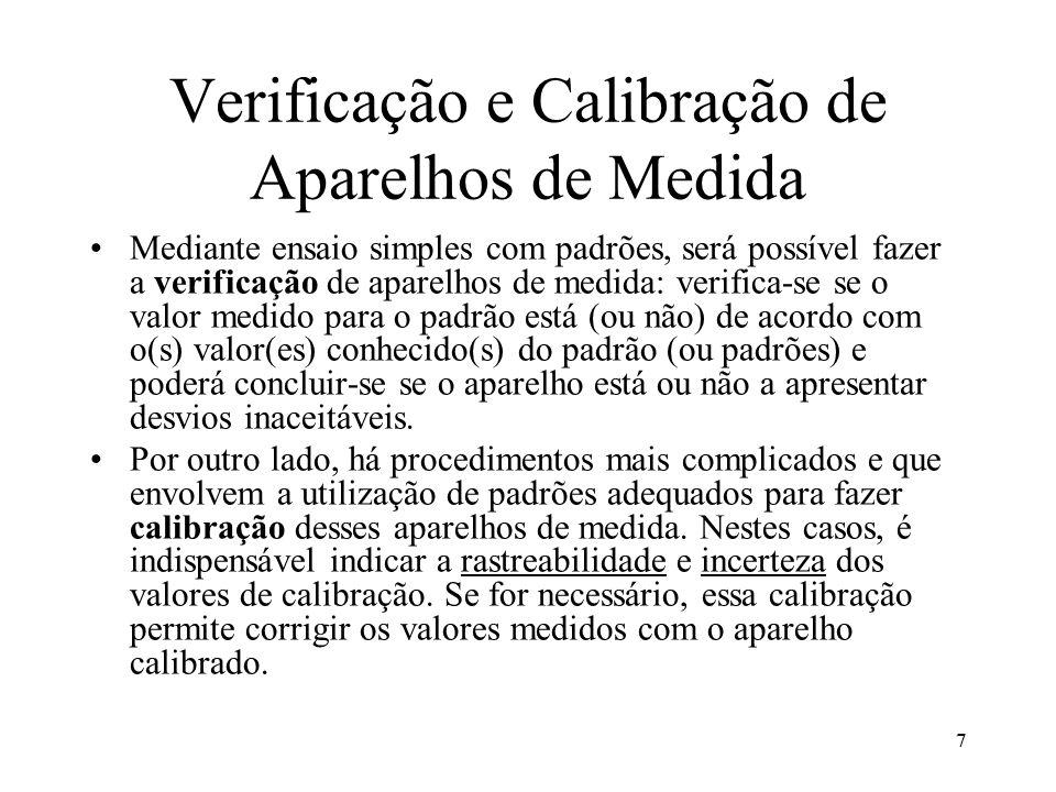 7 Verificação e Calibração de Aparelhos de Medida Mediante ensaio simples com padrões, será possível fazer a verificação de aparelhos de medida: verif