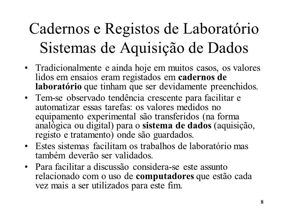 8 Cadernos e Registos de Laboratório Sistemas de Aquisição de Dados Tradicionalmente e ainda hoje em muitos casos, os valores lidos em ensaios eram re