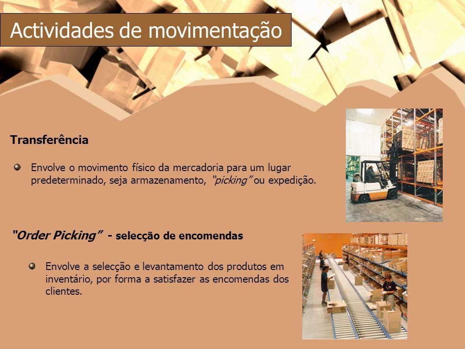 Transferência Envolve o movimento físico da mercadoria para um lugar predeterminado, seja armazenamento, picking ou expedição. Order Picking - selecçã