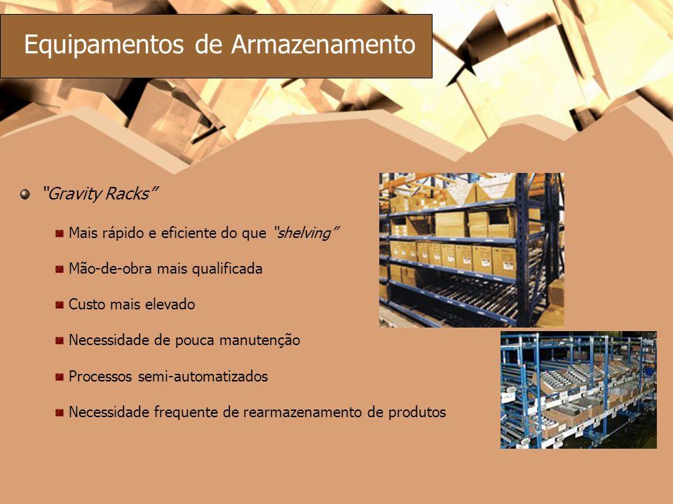 Gravity Racks Mais rápido e eficiente do que shelving Mão-de-obra mais qualificada Custo mais elevado Necessidade de pouca manutenção Processos semi-a