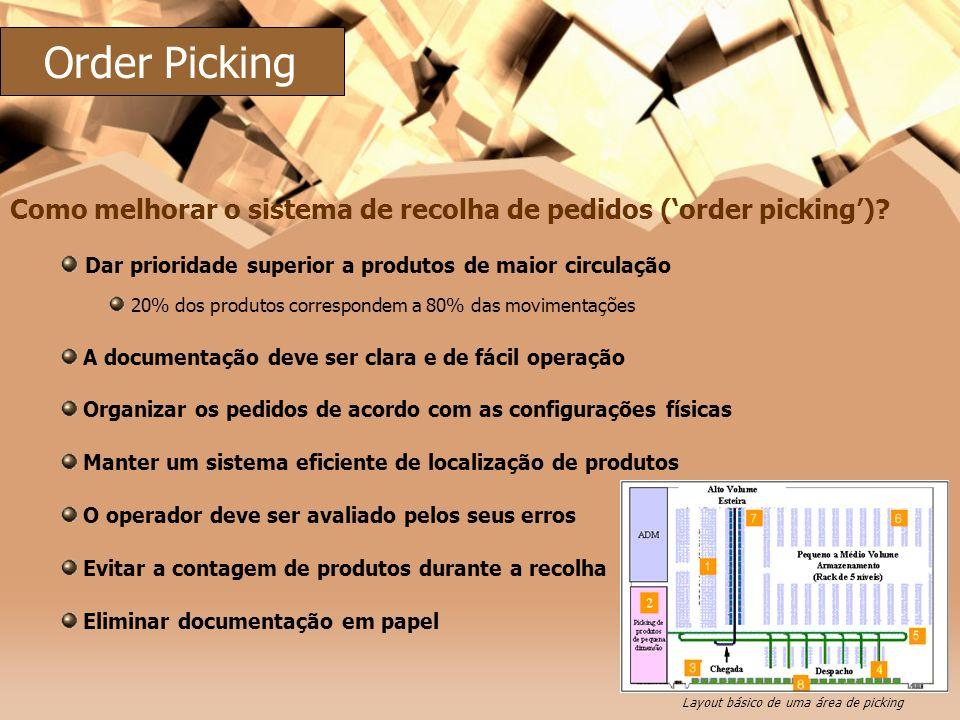 Dar prioridade superior a produtos de maior circulação 20% dos produtos correspondem a 80% das movimentações A documentação deve ser clara e de fácil