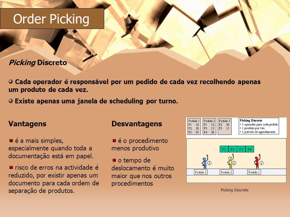 Cada operador é responsável por um pedido de cada vez recolhendo apenas um produto de cada vez. Existe apenas uma janela de scheduling por turno. Pick