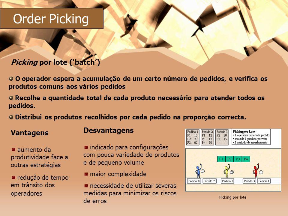 O operador espera a acumulação de um certo número de pedidos, e verifica os produtos comuns aos vários pedidos Recolhe a quantidade total de cada prod