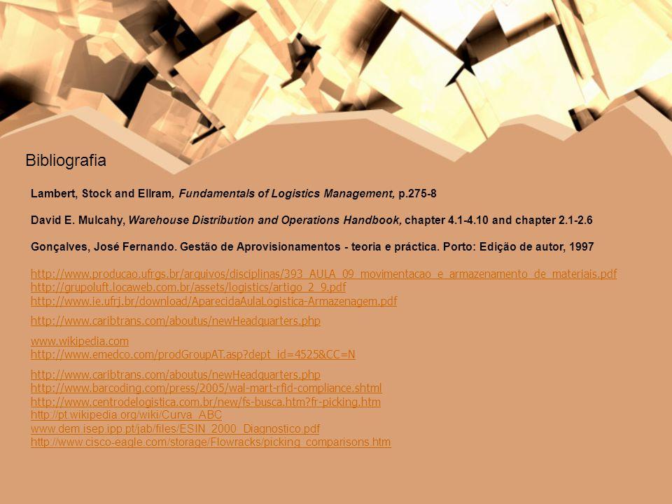 Bibliografia Lambert, Stock and Ellram, Fundamentals of Logistics Management, p.275-8 David E. Mulcahy, Warehouse Distribution and Operations Handbook