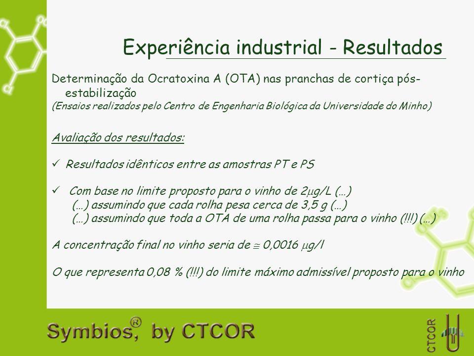 Experiência industrial - Resultados Determinação da Ocratoxina A (OTA) nas pranchas de cortiça pós- estabilização (Ensaios realizados pelo Centro de E